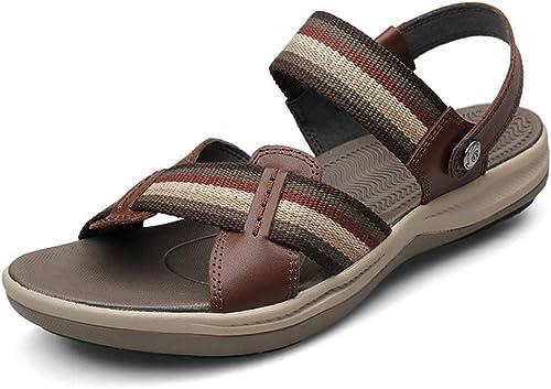 Chaussures de Plage d'été Sandales de Plage d'été pour Hommes à Bout Ouvert en Tissu antidérapantes Chaussures Plates de Pantoufles (Couleur  Noir, Taille  10 UK)