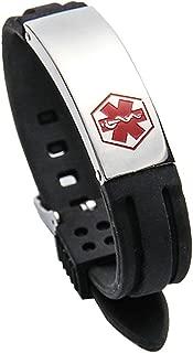 Aooaz Medical Alert Bracelet Id Bracelet Silicone Adjustable Bangle with Medical Sign Stainless Steel Bracelets Cuff for Men