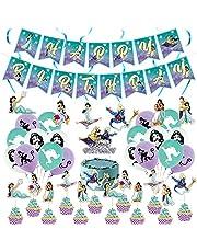 Aladdin Party Decorations Jasmine Aladdin Birthday Party Supplies,Decorations for Aladdin Includes Cake Topper Cupcake Toppers,Banner,Ballons,Swirls for Princess Birthday Arabian
