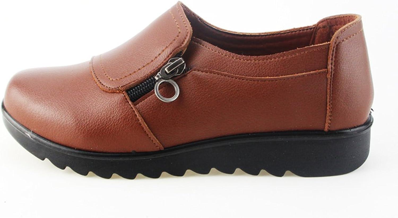 York Zhu Women's Oxford shoes, Fashion Casual Slip on Zipper, Ladies shoes