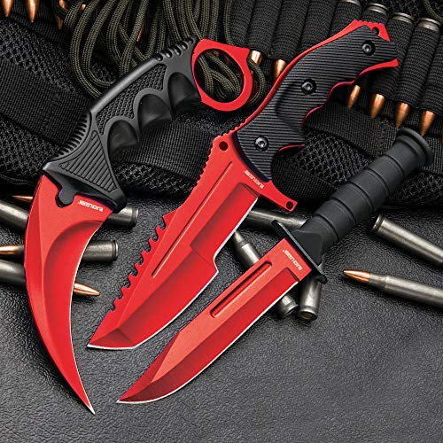 Black Legion Triple Knife Set (Atomic Red)