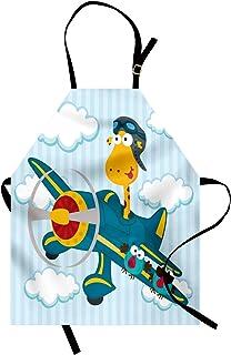 پیش بند مهد کودک قابل حمل ، زرافه مسخره بر روی یک صفحه آبی با 2 عدد عینک حمل و نقل هوایی حیوانات پرنده ، پیش بند آشپزخانه یونیسکس با گردن قابل تنظیم برای پخت و پز باغبانی ، بنزین آبی و آبی کم رنگ
