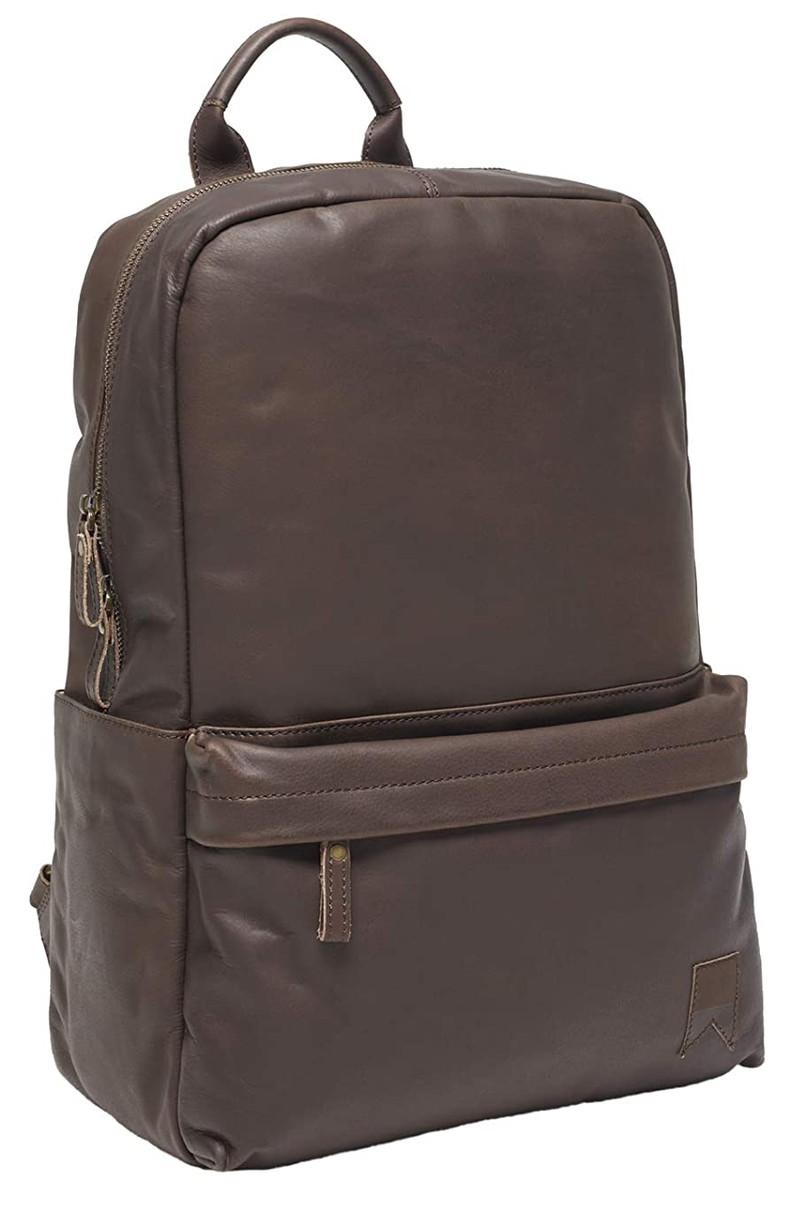 Navali Cooper Genuine Vintage Leather Backpack with Padded Laptop Compartment and Luggage Slip - Brown