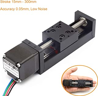 CNC Mini Sliding Table Linear Rail Stroke 100mm with NEMA11 Stepper Motor Precision 0.05mm for DIY CNC Router Milling Machine