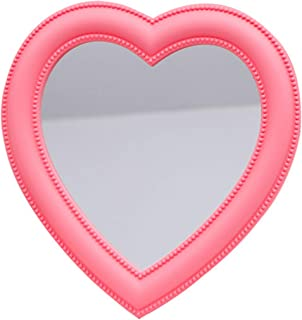 BinaryABC Pink Heart Makeup Mirror Cosmetic Mirror Wall Desktop Mirror Bedroom Mirror
