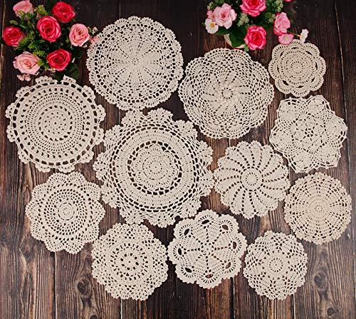 YINGYOU 12Pcs Hand Crochet Doilies Round Beige Vintage Wedding Tea Party 5-12 inches(Beige)