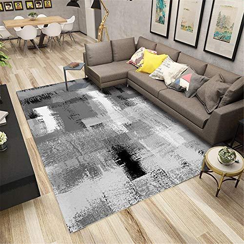 La Alfombra Alfombra Bebe Alfombra de Lavado de Tinta Negra Gris Suave Sala de Estar Lavable decoración habitación niño Rugs for Living Room 100*160cm