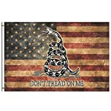 Vintage American Flag Dont Tread On Me Flag 3x5 Feet with Brass Grommet Double Stitch Retro USA Flag Patriotic Star Stripe Banner Garden Flag House Breeze Decorations for Indoor Outdoor Boat