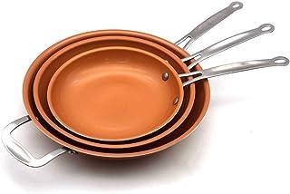 Un Conjunto 8/10/12 pulgadas antiadherente sartén de cobre con recubrimiento de cerámica e inducción de cocina Olla antiadherente Sartén