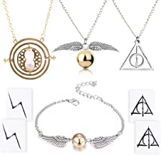 4 Piece Harry Potter Necklace Bracelet with The Deathly Hallows Golden Snitch Time Turner Chain Pendant Necklace for Harry...