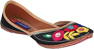 MSC Leather Ethnic Black Flat Bellie for Women
