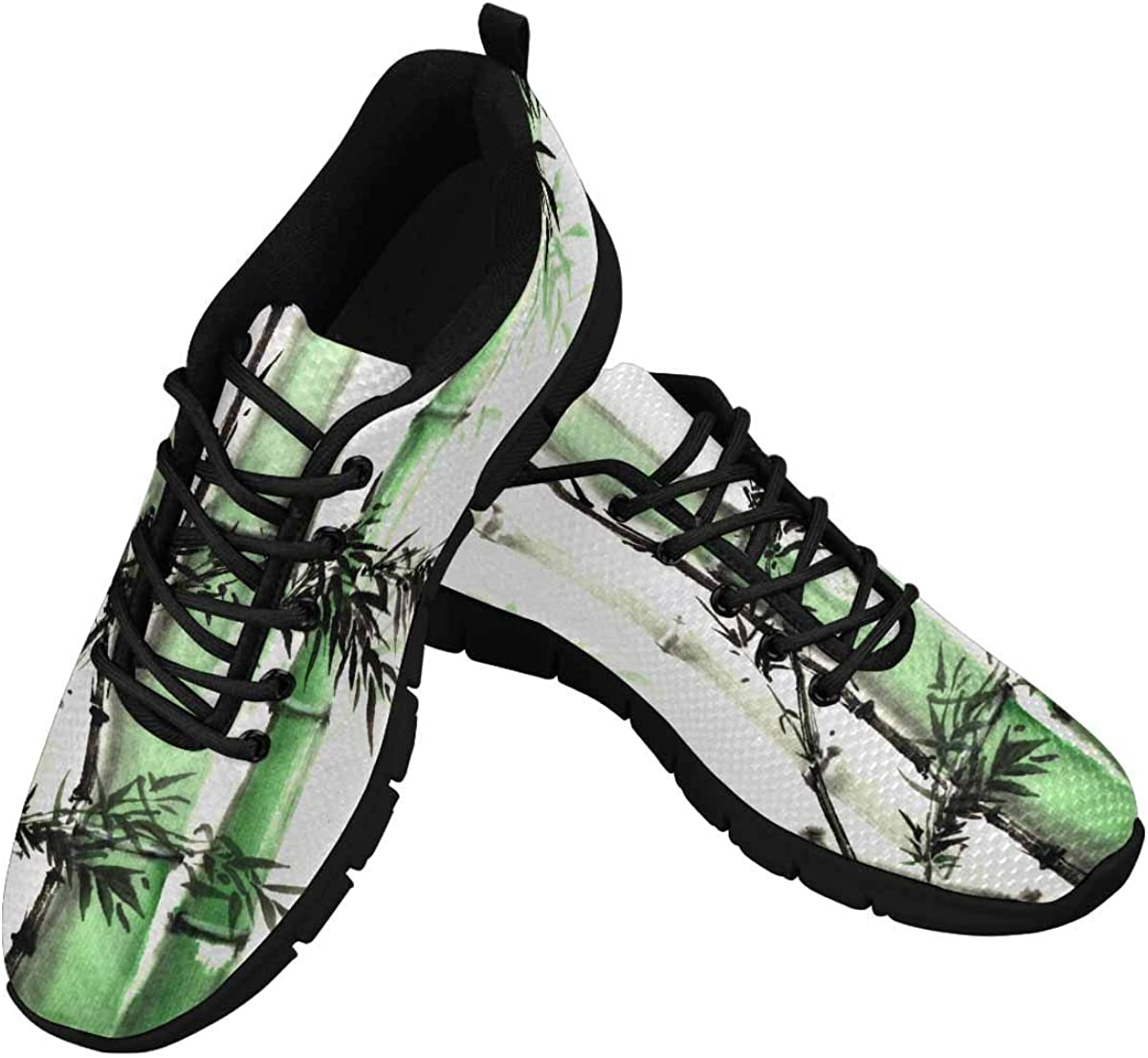 InterestPrint Chinese Ink Painting of Bamboo Women's Breathable Sneaker