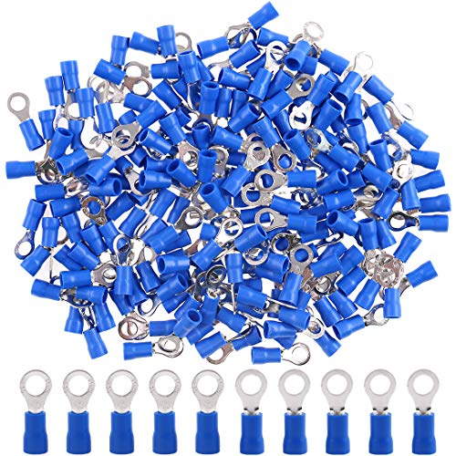 Hilitchi 100Pcs 16-14AWG Insulated Terminals Ring Electrical Wire Crimp Connectors (Blue, M5)