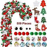 Landihose 500 Piezas Surtido de Estilos Artesanales Adornos Navideños de Tienda Mezcla Botones Navidad, Adornos de Bola de Pom Pom para Costura Scrapbooking, Decoración DIY de Artesanal de Navidad