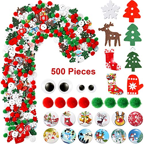 500 Pieces Christmas Embellishments Mix Christmas Wood Buttons Christmas Tree Pom Pom Ball Wiggle Eyes Ornaments Assorted Styles for Xmas DIY Craft Sewing Decoration Accessories