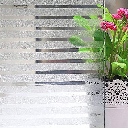 FENTIS Fensterfolie Sichtschutzfolie Glasdekorfolie, Milchfolie, Fenterfolie mit Streifen für die Büre und zu Hause, Selbstklebend ohne Klebstoff Fensterfolie Anti-UV Leichte Entfernung