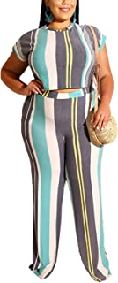 PORRCEY Summer hot Style Large Women's Striped Print Tight T-Shirt Straight Pants Two-Piece Fashion Casual Suit