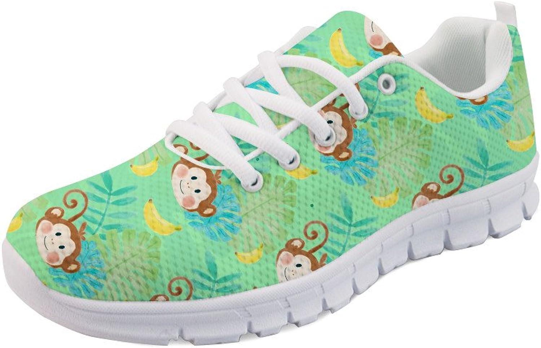 HUGS IDEA Cartoon Monkey Running Sneakers Lightweight Athletic Sport shoes