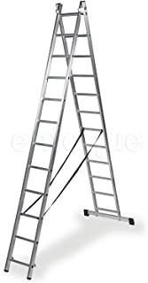 Escalera profesional de aluminio transformable apoyo-tijera con base un acceso 2 x 12 peldaños serie bis