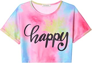 Girls Casual Happy Letter Print Summer Shirts Tie Dye Short Sleeve Crop Tops Loose T-Shirt