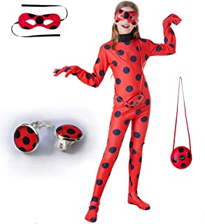 SZ-TONDA Kids Girl Ladybug Costume - Red Ladybird Little Beetle Suit Jumpsuit Halloween Party Cosplay for Women Adult Toddler Child