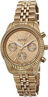 August Steiner Women's Classic Coin Edge Bezel Watch - Sunburst Dial with Day of Week, Date, and 24 Hour Subdial on Yelow Gold Tone Stainless Steel Jubilee Bracelet - AS8103