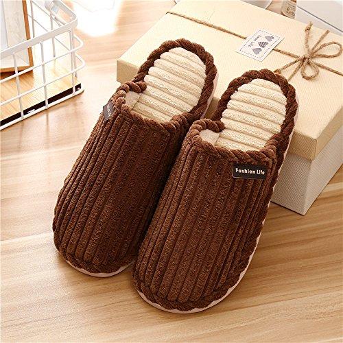 Qsy shoe Pantoufles d'automne et d'hiver en Coton pour l'intérieur, Chaudes et antidérapantes, Marron, 44-45 pour 42-43 Verges
