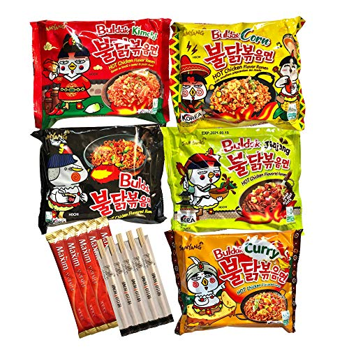 Mashi Box Korean Spicy Chicken Buldak Noodle Variety 5-Pack - 5 Different Flavors - Comes with 5 Instant Korean Coffees and 5 Chopsticks
