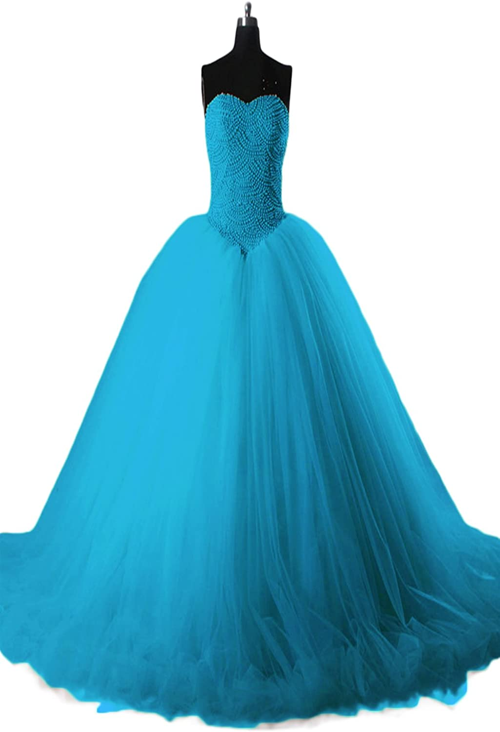SDRESS Women's Pearls Strapless Sweetheart Laceup Ball Gown Quinceanera Dress