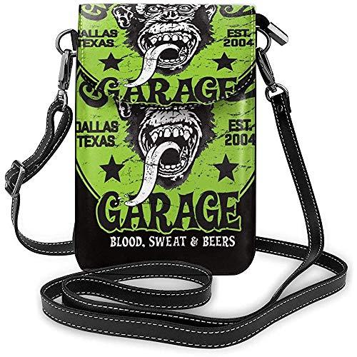 Bolso de Hombro para teléfonos Gas Monkey Black One Size Cómodo Monedero pequeño para teléfono Celular para Mujeres