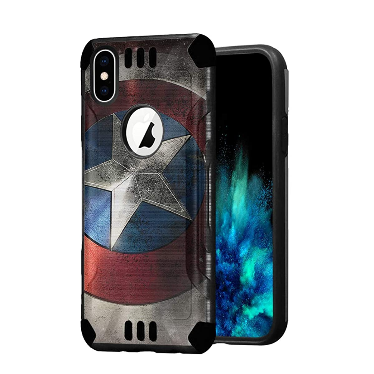 Capsule Case Compatible with iPhone Xs [Hybrid Dual Layer Silm Defender Armor Combat Case Black] for iPhone Xs and iPhone X- (Rock Star)