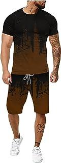 Men's Summer 2-Piece Beach Patchwork Short Sleeve Shirts & Shorts Pants Sets