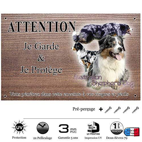 Pets-Easy.com Attention Chien de Garde personnalisée Australian Shepherd - pré percée et vis livrées. De 30 cm à 15 cm…