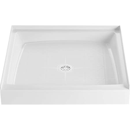 """PROFLO PFSB3434WH PROFLO PFSB3434 34"""" x 34"""" Single Curb Slip Resistant Shower Pan for Alcove Installations (Strainer Included)"""