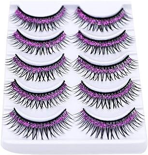 5 Pairs Colorful False Eyelashes Long Thick Glitter Artificial Eyelashes Makeup Eyelashes Extension Puple