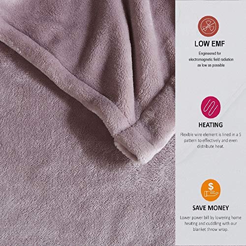 Beautyrest Heated Plush Elect Electric Blanket with 20 Heat Level Setting Controllers Equip with Secure Comfort Technology and 10 Hours Auto Shut Off, King: 90x100, Lavender,BR54-0657