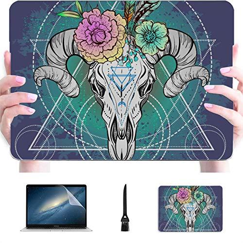 Funda para Macbook Air 13 Diseño étnico Nativo Americano Bull Skull Carcasa rígida de plástico Compatible con Mac Air 13'Pro 13' / 16'Funda Protectora para Macbook 13 para Macboo