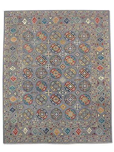 Pak Persian Rugs Tapis Fait À La Main Boukhara, Gris Clair/Bleu, Laine, Medium, 236.2 X 295.2 cm