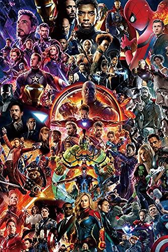 WQHLSH Spiderman Iron Man Hombre Capitán Marvel Lienzo Pintura de la Pared Arte nórdico Pósters e Impresiones Fondos for la decoración de la Sala de Estar 20x30inchx1 Sin Marco