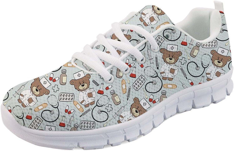 UNICEU Women's Lightweight Running Sneakers Nurse Bear Print Walking shoes