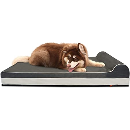 Laifug Orthopedic Memory Foam Dog Bed,Large Dog Mat with Pillow and Durable Water Proof Liner & Removable Washable Cover & Smart Design