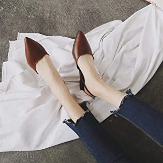 Europe and The United States 2018 Spring New Baotou Half Slippers Female Tide Pu Pointed Cold Half Shoes Drag Lazy Outside Wearing (Color : Coffee, Size : 35)