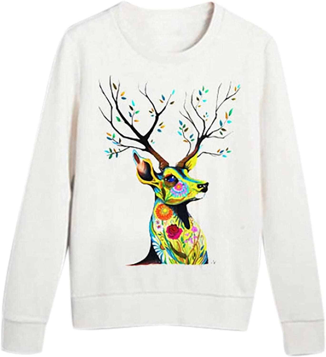 New World Animal Day Theme Tops for Ladies Crewneck Long Sleeves Pullover Print Pattern Sweatshirts