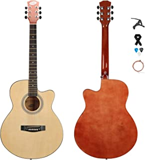 """SHINEDOWN 40"""" Acoustic Steel Guitar Natural in Full Size Beginner All Wood with Free Capo/Picks/Strap"""