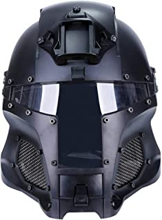 Simways Cosplay Airsoft Full Face Head Helmet Tactical Riding Sorta-Kinda Mandalorian/Boba Fett/Galac-Tac Style Helmet with Exchangable Lens(Black)