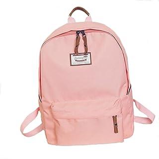 OURBAG Damen Mädchen Leinwand Segeltuch Rucksack Schultertasche Handtasche Schulranzen für Schule Reise Rosa