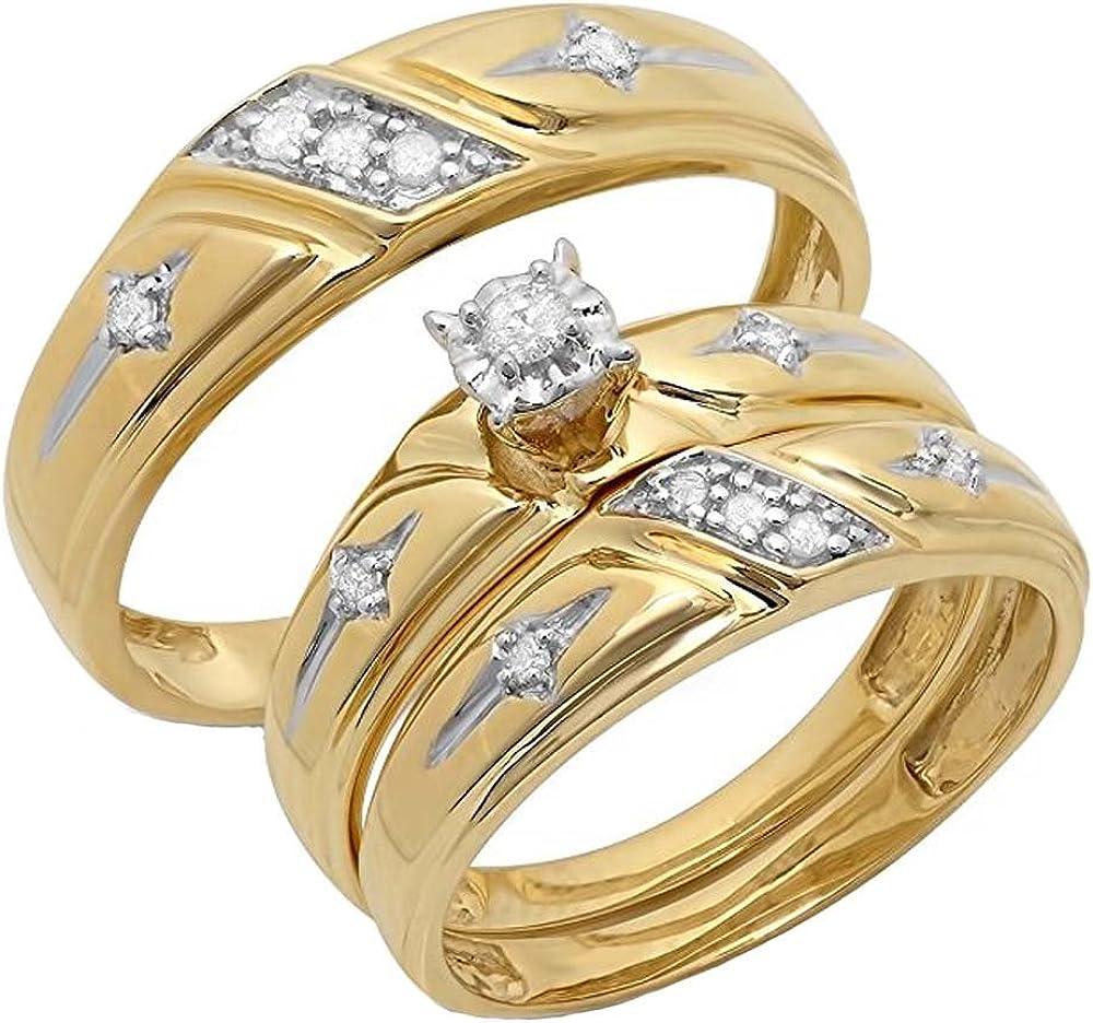 Dazzlingrock Collection 0.15 Carat (ctw) 10K Round Cut White Diamond Men & Women's Engagement Ring Trio Bridal Set, Yellow Gold