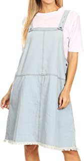 Junior Womens Oversized Loose Adjustable Strap A-line Distressed Denim Overall Dress
