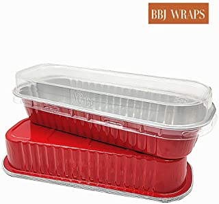Disposable Mini Loaf Baking Pans Long Bread Aluminum Foil Container With Lids High Dome For Gift Giving, 100 Sets, 6.5(l) x2.5(w) x1.2(h) Inch (Red)
