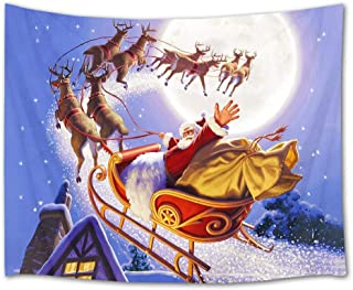 HVEST Christmas Santa Claus Riding Reindeer Sleigh Wall Hanging Christmas Moon Night Tapestry Starry Sky Wall Hanging for Bedroom Room Dorm Outdoor Decor, 80Wx60H inches